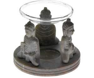 Diffusore Tre Buddha - A Candela - In Pietra Steatite