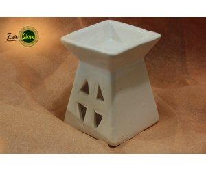 Brucia essenze in ceramica smaltato - quadrato bianco
