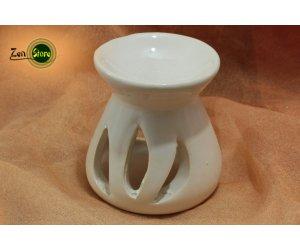 Brucia essenze in ceramica smaltato - arrotondato bianco