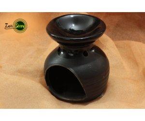 Brucia essenze in ceramica smaltato - arrotondato nero