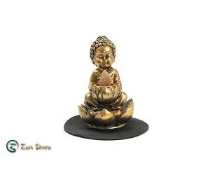 Brucia Incenso Riflusso Buddha con Loto - Con Carboncino - In Resina