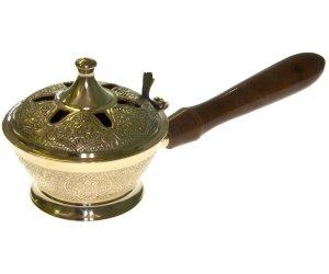 Brucia Incenso In Ottone Ornato con Impugnatura - Brucia Coni e Resine