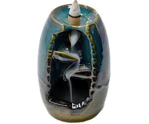 Brucia Incenso a Riflusso -  Vaso con Cascata - Con Carboncino - In Ceramica