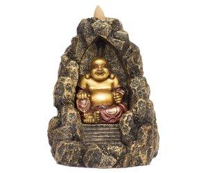 Brucia Incenso a Riflusso - Buddha Cinese - In Resina